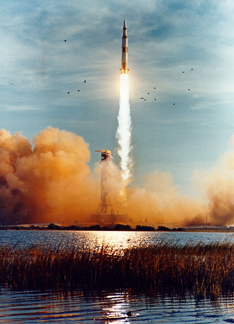 Apollo 8 launches from Pad 39-A on 21 December 1968.