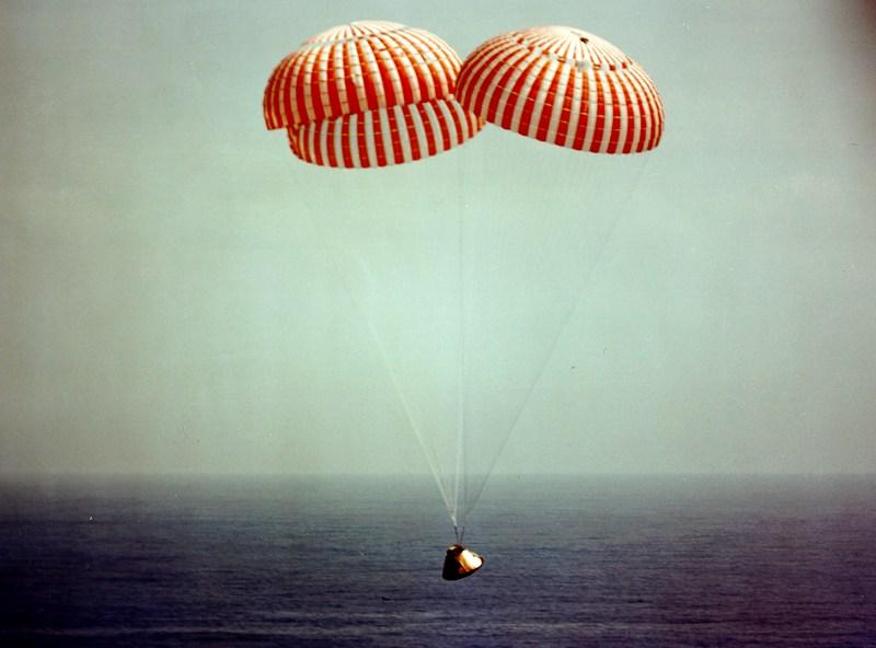 Descending Apollo ready for splashdown.