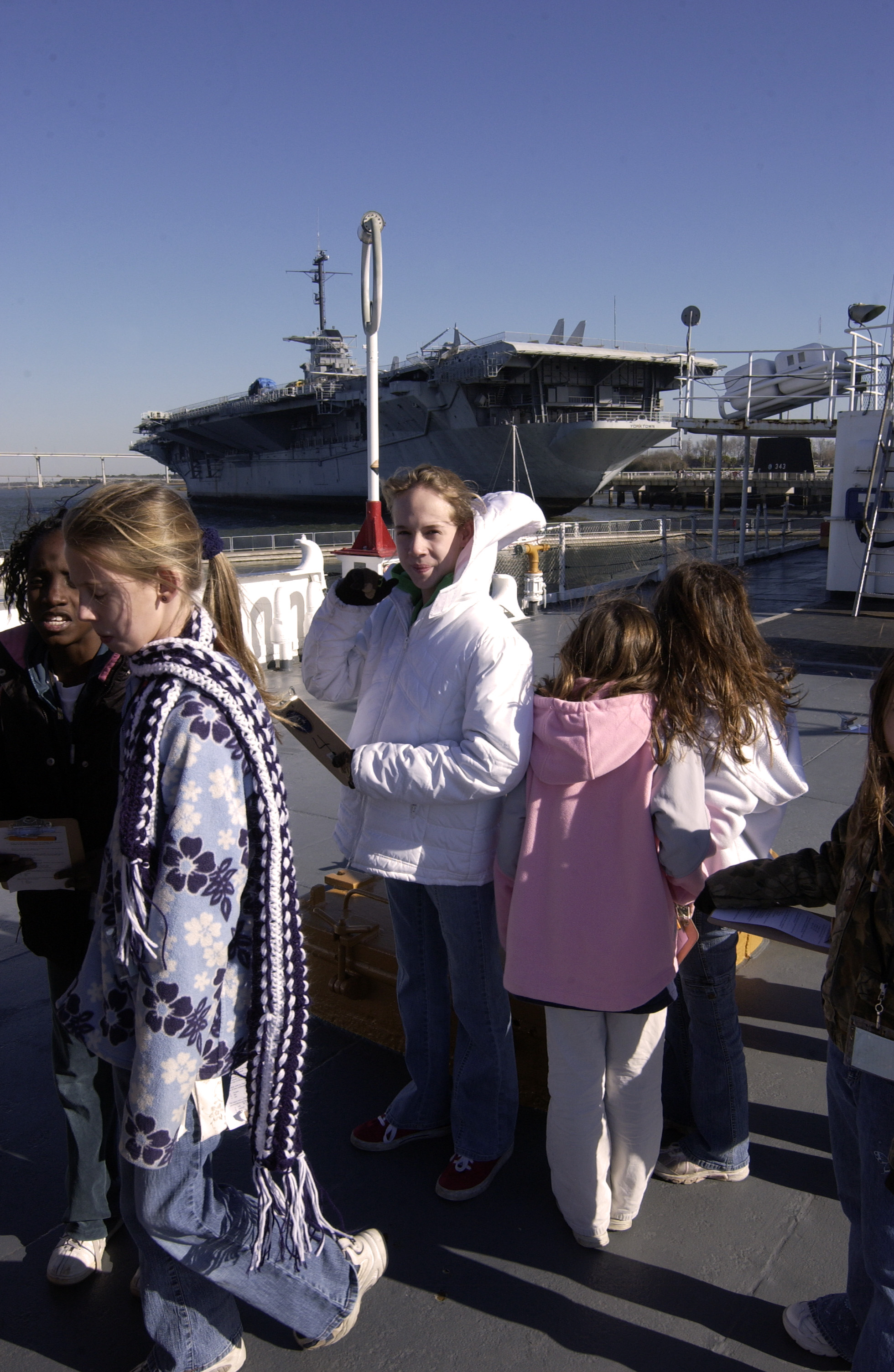 Fifth graders visit USS Yorktown for history and science program.