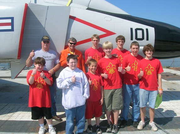 Boy Scout Troop 646 from Guilford, Indiana, posing in front of F-4J Phantom.