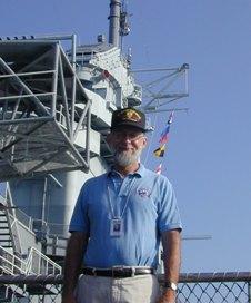 """Dr. """"Chip"""" Biernbaum on the USS Yorktown, CV-10."""