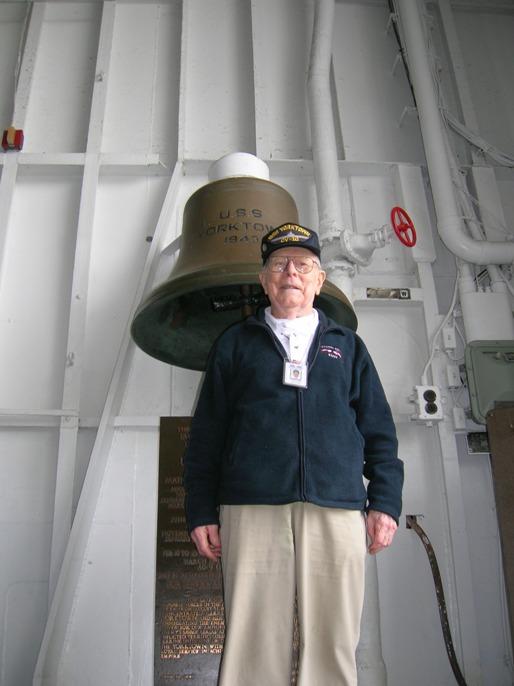 Volunteer George Lodge onboard USS Yorktown.