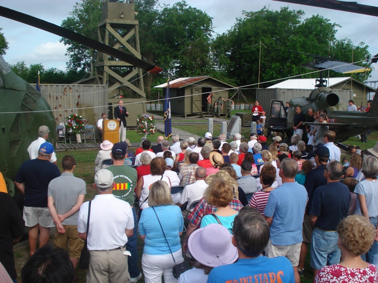 """Colonel """"Mac"""" Radcliffe, USMC (Ret.), addresses those attending the Memorial Day ceremony."""