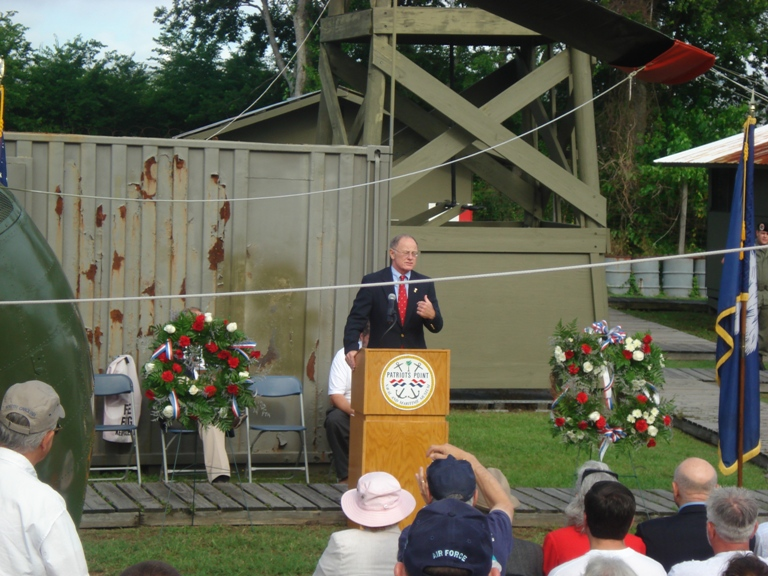 Colonel Radcliffe speaks during the program.