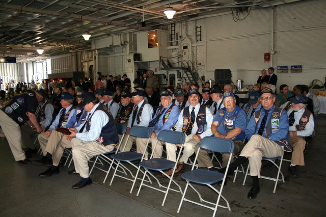 Submarine veterans, family and guests assembled for Don's service on 20 April 2009.