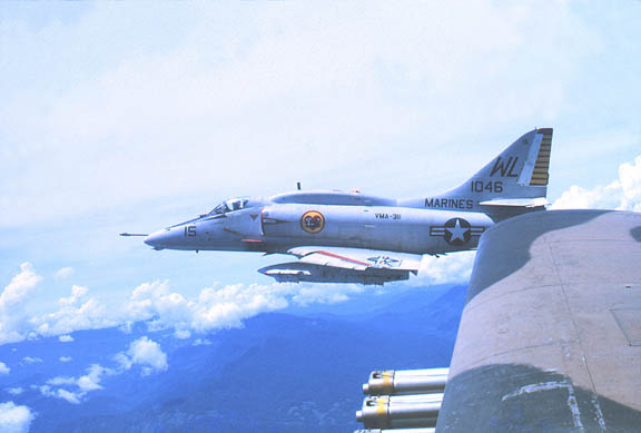 VMA 311 Skyhawk seen from an USAF Skyraider (another Douglas aircraft).