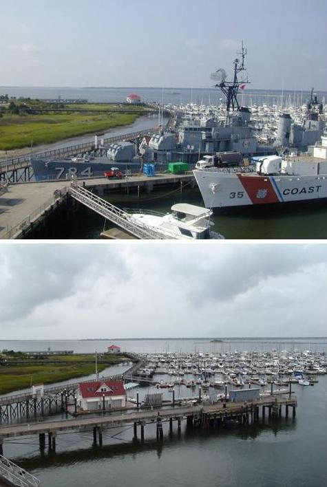 Laffey and Ingham at the pier (top) and the pier alone after departure (bottom).