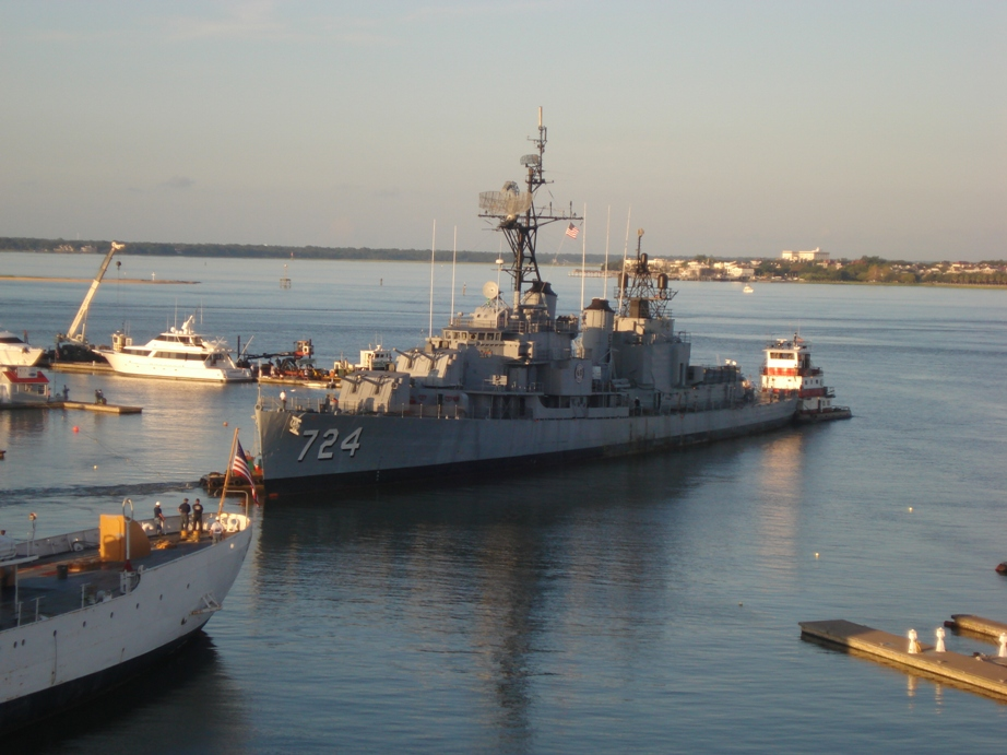Laffey is backed out of her berth at Patriots Point by one of four tug boats set to lead her to Detyen's Shipyard.