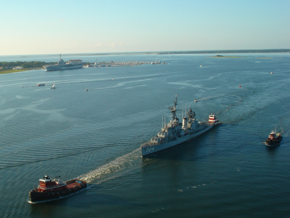 Laffey being towed up the Cooper River with Yorktown, Patriots Point, Charleston Harbor and Fort Sumter in the background.