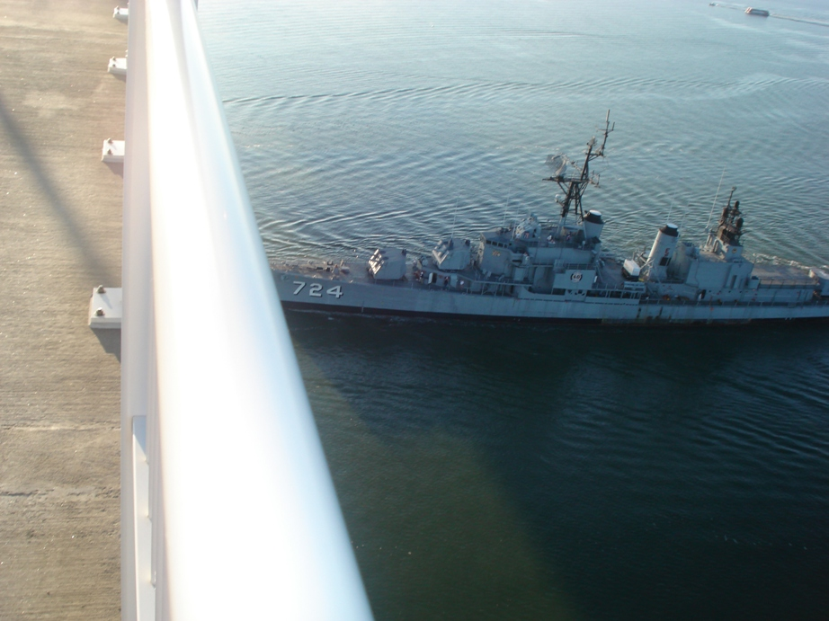 Laffey disappears under the bridge.