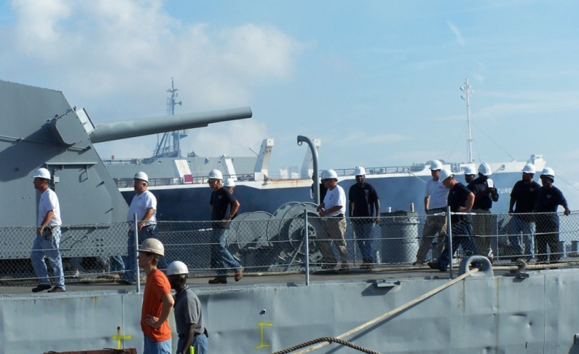 Patriots Point crew prepares to leave Laffey after securing all lines to pier.