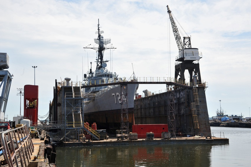 Laffey on the floating drydock at Detyens (old Charleston Navy Base).
