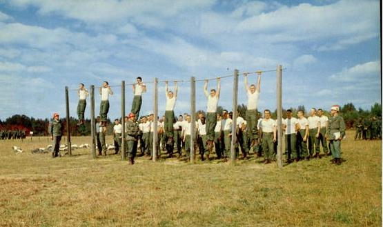Physical training at Fort Dix in 1957.