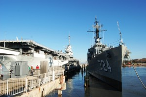 The USS LAFFEY sits in her berth at Patriots Point Naval & Maritime Museum