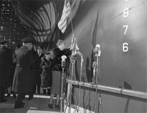 First Lady Eleanor Roosevelt christens the USS Yorktown in April 1943.