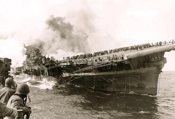 On March 19, 1945, the USS Franklin (CV-13) was hit by two Japanese bombs, igniting aircraft that were armed, triggering a gasoline vapor explosion that devastated the Hangar Bay and killing more than 800 sailors and wounding nearly 500.
