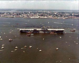 Yorktown arrives in Charleston on June 15, 1975.