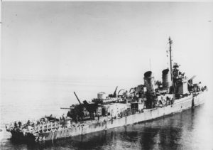 USS Laffey following damaged sustained during an attack off Okinawa on April 16, 1945.